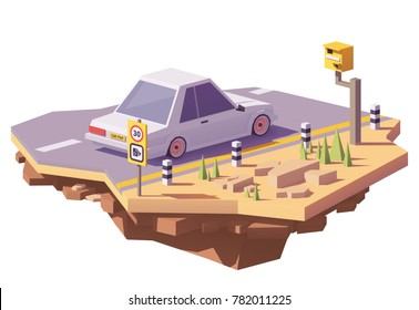 Vector low poly radar speed camera on the road and a car