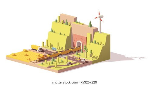 Vector low poly railroad crossing. Includes cargo train with coal hopper cars coming from tunnel, truck, cars, field and windmill