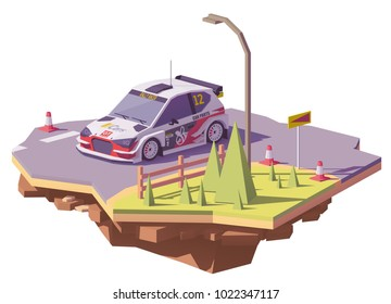 Vector low poly rally racing car in white and red livery on the tarmac rally stage