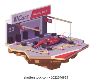Vector low poly red racing car and pit stop box with spare tyres and equipment