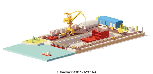 Vector low poly ship construction in dry dock. Includes crane, warehouse, trucks and other infrastructure