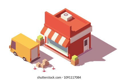 Vector low poly shop and truck unloading boxes with goods icon