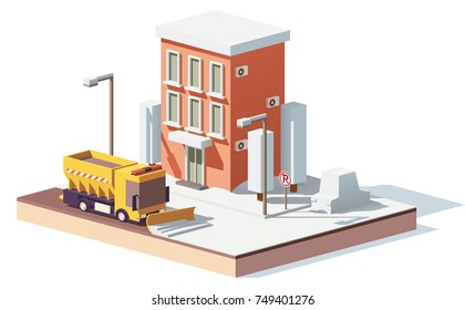 Vector low poly snowplow removing the snow in the city on a snowy winter day