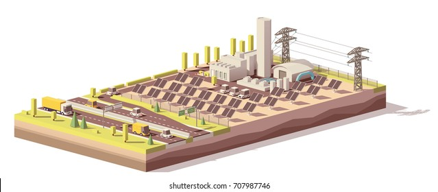 Vector low poly solar power plant infrastructure. Includes solar panels, power line and related facilities