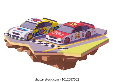 Vector low poly stock car racing cars in different liveries on the finish line of the racing track