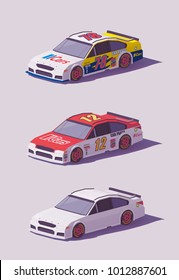 Vector low poly stock car racing cars in different liveries