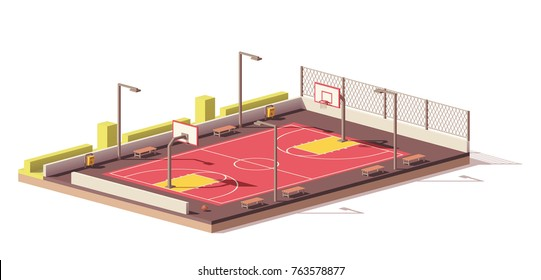 Vector low poly street basketball court