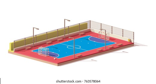 Vector low poly street futsal court
