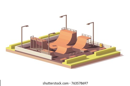 Vector low poly street skate park