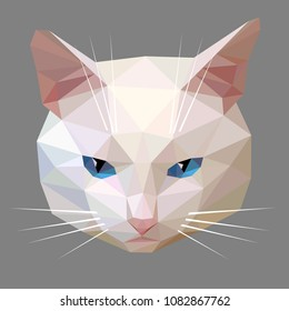 Vector low poly style illustration of a white cat face with blue eyes isolated on a gray background. Polygon graphics.
