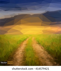 Vector low poly sunset field with road triangle background