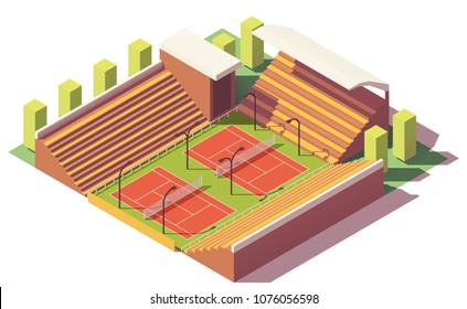 Vector low poly tennis stadium with two tennis courts and tribune
