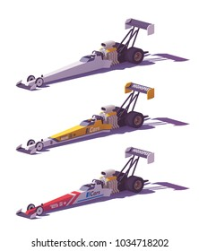 Vector low poly top fuel dragsters in different liveries