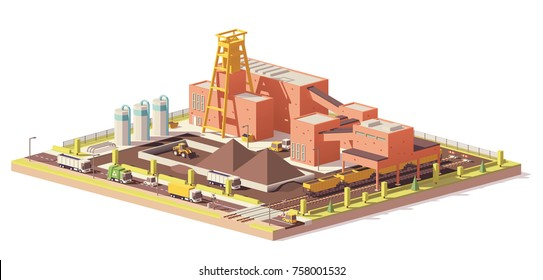 Vector low poly underground mining coal mine with headframe and train terminal