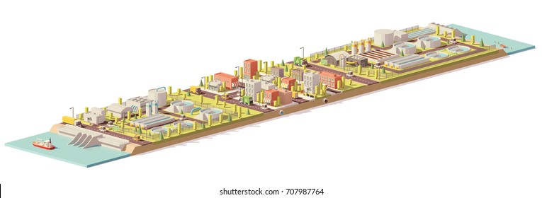 Vector low poly water treatment and consumption illustration. Includes water and wastewater treatment plants and city