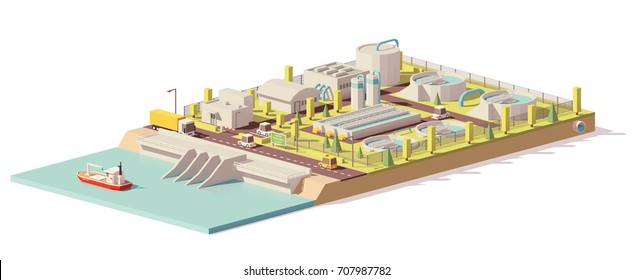 Vector low poly water treatment plant infrastructure with water channel and related facilities
