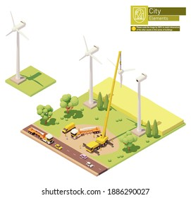 Vector low poly wind turbines farm construction. Onshore wind farm construction. Workers installing rotor blades with crane. Isometric city map elements