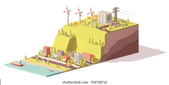 Vector low poly wind turbines power plant infrastructure. Includes onshore wind farm, power lines and city