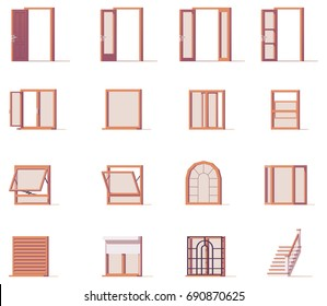 Vector low poly windows and doors set