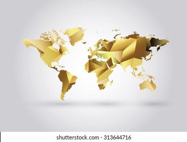 Vector Low Poly World Map. Polygonal gold iillustration.