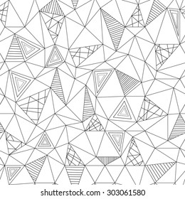 Vector low poly zentangle seamless pattern. Abstract low poly graphic repeat pattern. Black and white polygonal seamless hand-drawn background.