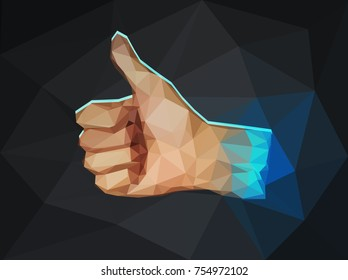 Vector low polygon illustration of thumb up sign.