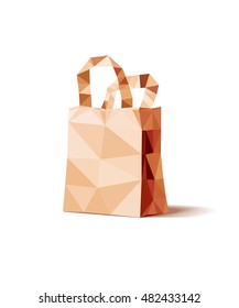Vector low polygonal illustration of yellow paper shopping package isolated on white background.