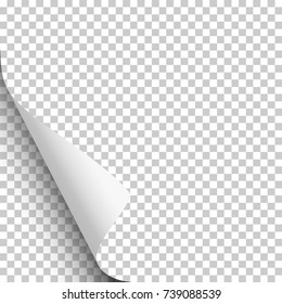 Vector lower left curl with shadow on blank transparent sheet of paper. Element for ad.