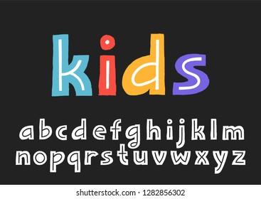 Vector lowercase display alphabet with texture border and the line inside the letters.
