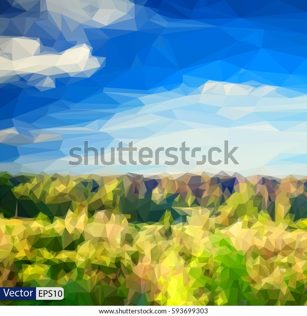 Vector low-poly triangular modern style landscape forest and blue sky