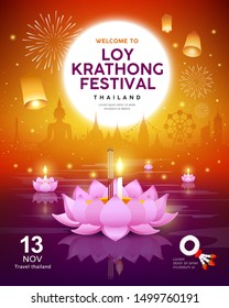 Vector Loy Krathong festival building and landmark thailand banners on orange background, illustration