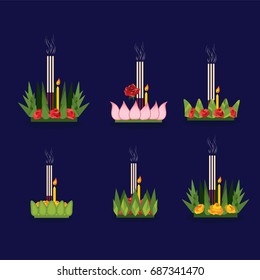 Vector of Loy Kratong Festival, Thailand