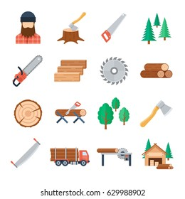 Vector lumberjack icons set in flat style on white background. Tools and equipment of the lumberjack to tree cutting and harvest timbe. Icons of the wood industry and woodworking.