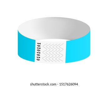 Vector luminous neon blue or cyan cheap empty bracelet or wristband. Sticky hand entrance event paper bracelet isolated on black. Template or mock up suitable for various uses of identification.