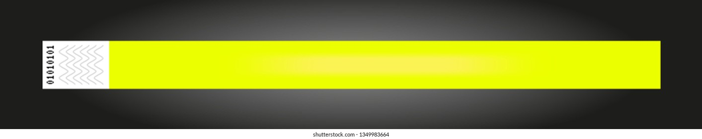 Vector luminous neon yellow cheap empty bracelet or wristband. Sticky hand entrance event paper bracelet isolated on black. Template or mock up suitable for various uses of identification.