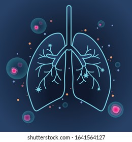 Vector of lungs outline and bacteria.