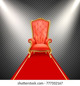 Vector luxurious gilded throne chair with red royal carpet illuminated in beams of spotlight isolated on transparent background. Exclusive, vip seat place. Antique, vintage armchair in realistic style