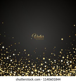 Vector luxury black background with gold stars