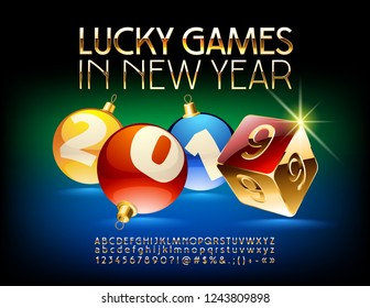 Vector luxury Casino Greeting Card Lucky Games in New Year 2019 with set of Letters, Symbols and Numbers. Golden stylish Font.