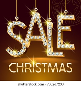 Vector Luxury Christmas Sale Banner for Jewelry Shop. Brilliant set of Alphabet Letters, Symbols and Numbers. Golden Font with Graphic style.