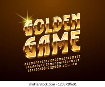 Vector luxury Emblem Golden Game. Chic bright 3D Font. Glossy Alphabet Letters, Numbers and Symbols.