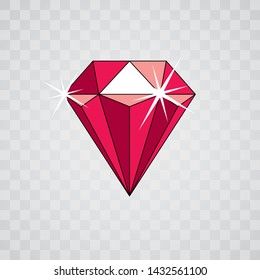 Vector luxury faceted decorative element. Glossy diamond icon, illustration.