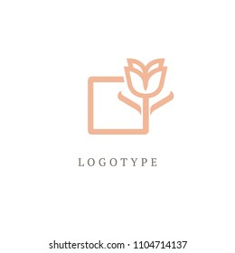 Vector luxury flower logo design. Gold ornate floral sign. Vintage premium design vector element. Emblem luxury beauty spa, cosmetics, jewelry, hotel, restaurant. Wedding elegant outline frame.