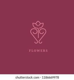 Vector luxury flower logo design. Ornate floral wedding sign. Modern simple premium design vector element. Emblem luxury beauty spa saloon, cosmetics, jewelry, flower shop, restaurant, garden.