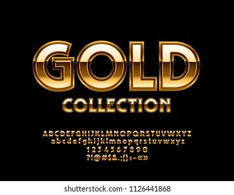 Vector Luxury Gold Alphabet Collection. Elegant Letters, Numbers and Symbols