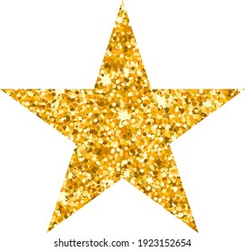 Vector luxury gold Five Pointed star. Rating, award and insignia. Element for advertising poster for restaurant, boutique and cafe, jewelry, fashion party. Objects isolated. Flat vector illustration.