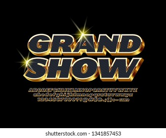 Vector luxury Grand Show poster with Gold and Black Font. 3D premium Alphabet Letters, Numbers and Symbols