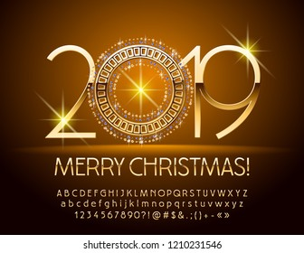 Vector luxury Greeting card Happy New Year 2019 with Gold and Diamond Snowflake. Set of chic Alphabet Letters, Numbers and Punctuation Symbols. Metallic gradient Font.