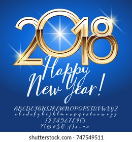 Vector luxury greeting card Happy New Year 2018. Calligraphic Set of Alphabet Letters, Numbers and Symbols. Font contains Graphic style