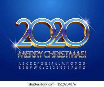 Vector luxury Greeting Card Merry Christmas 2020! Blue and Golden Alphabet Letters and Numbers. 3D Chic Uppercase Font